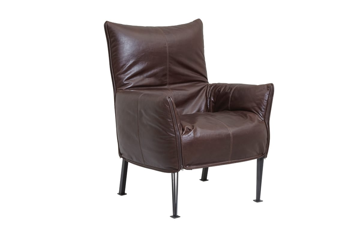 Evan John Philp Hugo Armchair in Leather available at McKenzie & Willis