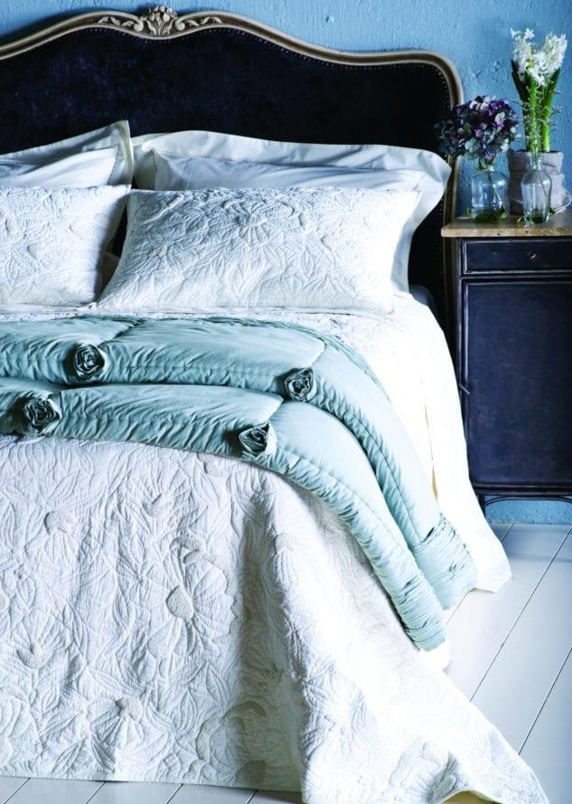 Magnolia bedspread and Bloom Blue comforter HR 633x889