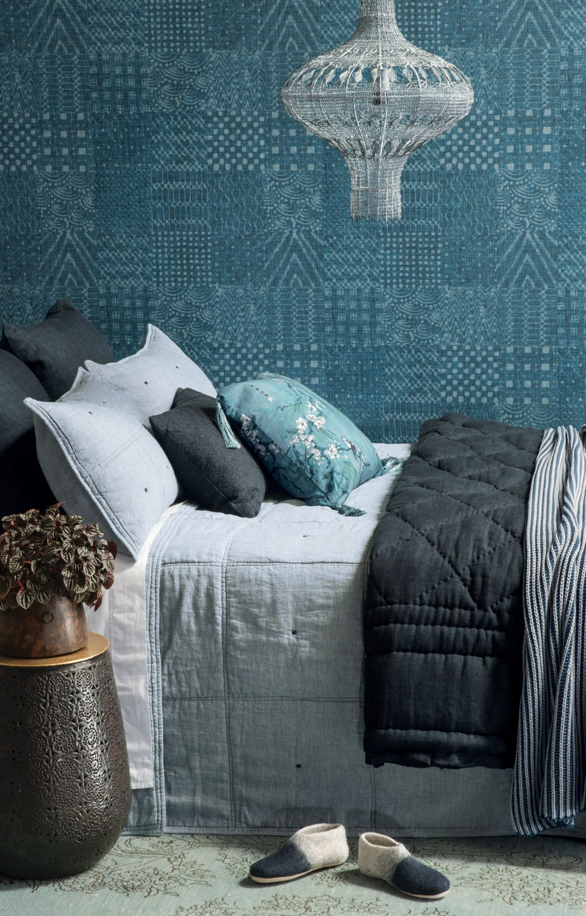 Bianca Lorenne Noma Bedspread in Marine with Tessere Comforter