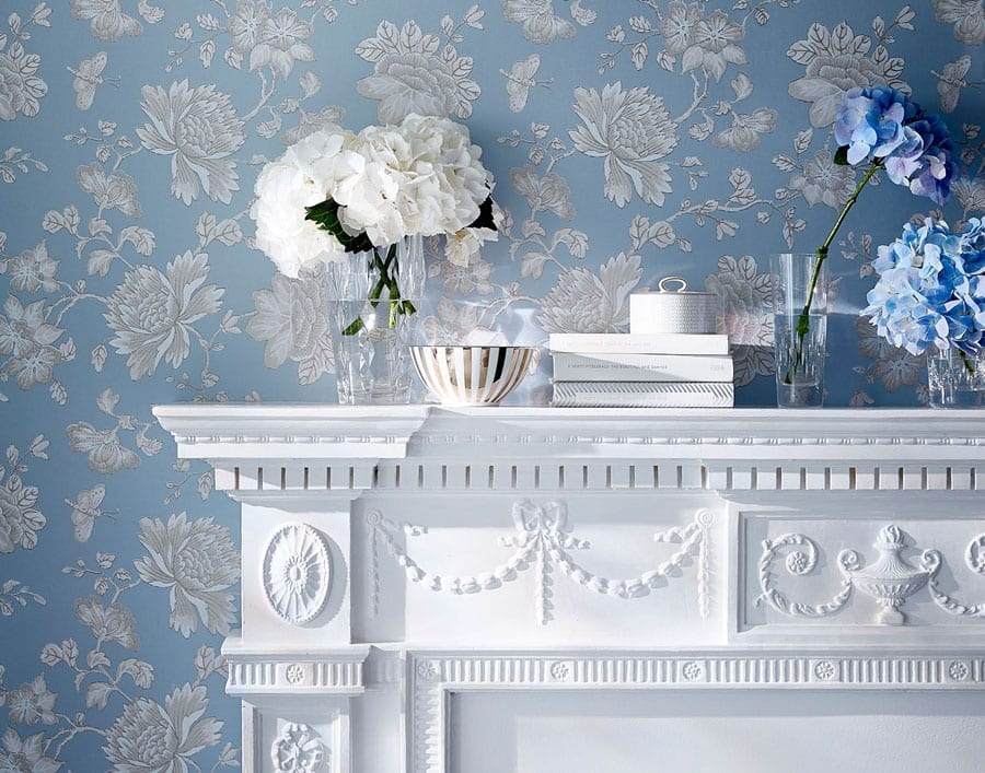 Fabled Floral Wallcovering Blue