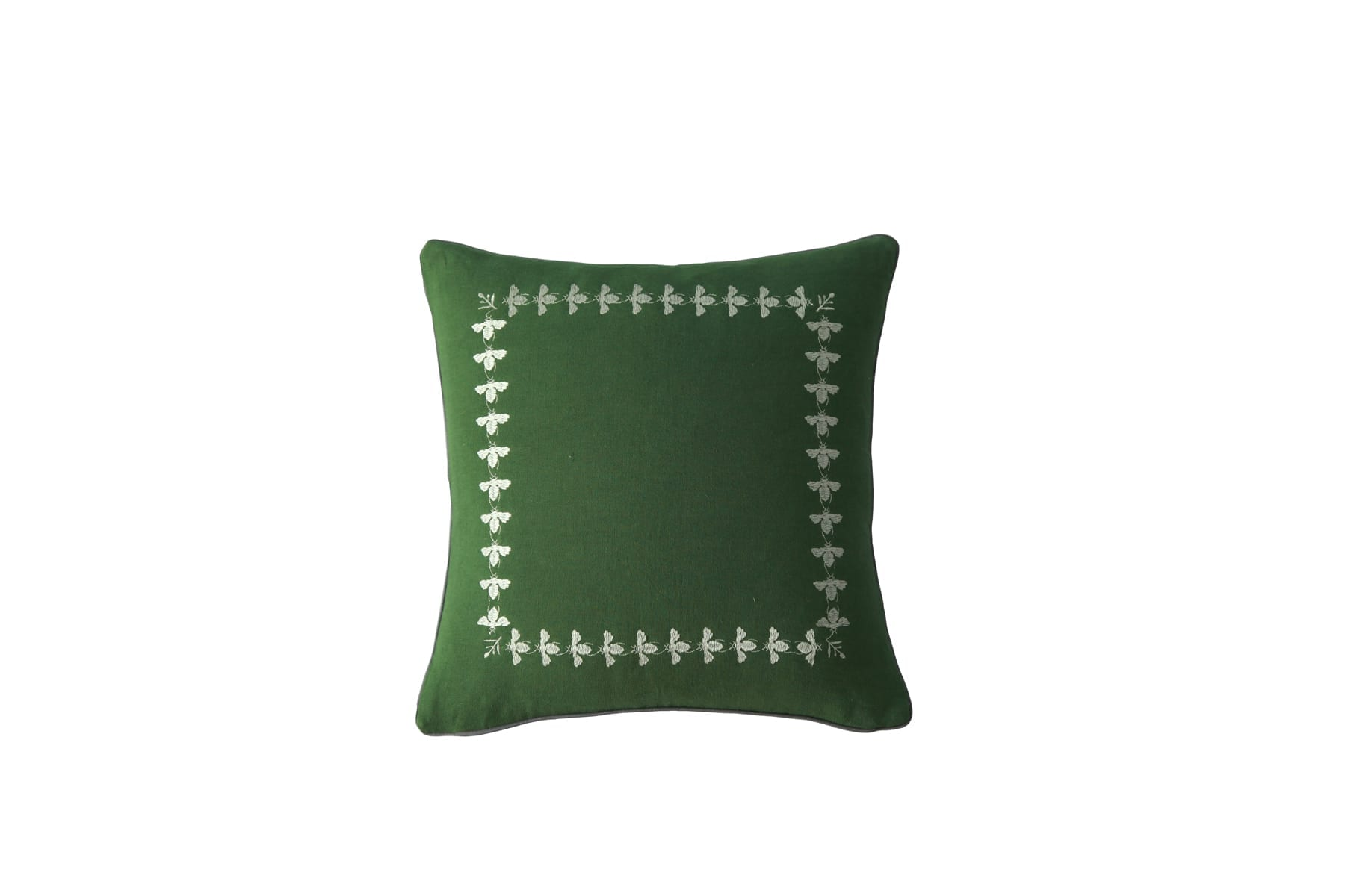 MM LinenBee Green Cushion