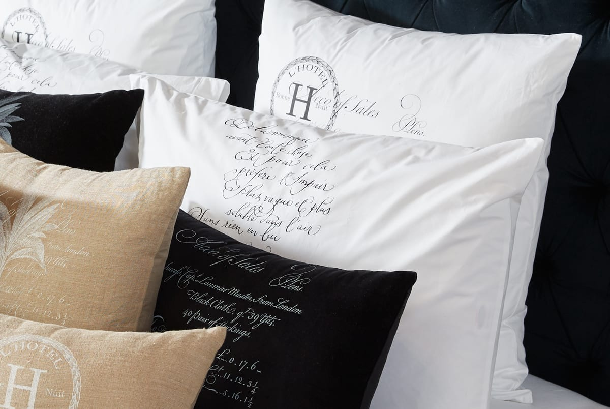 Arcanum Black Calligraphy Pillow Cases