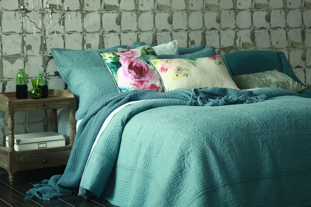 Allegra Bedspread in Bluestone available at McKenzie & Willis