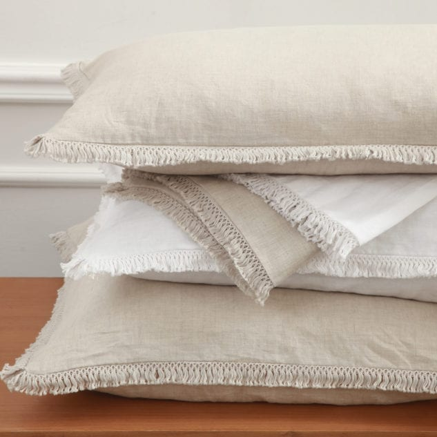 MM Linen Laundered Linen Tassel Euro & Pillowcovers available from McKenzie & Willis