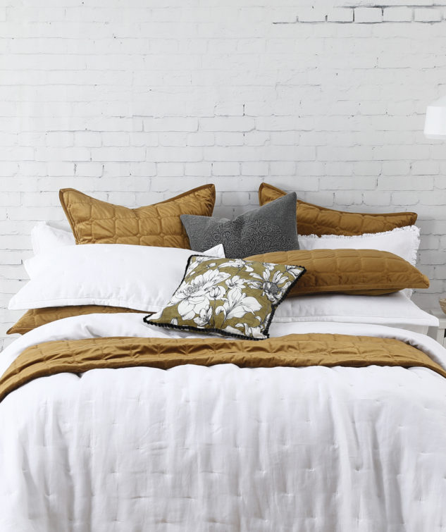 MM Linen Laundered Linen White Bedspread Meeka Chestnut