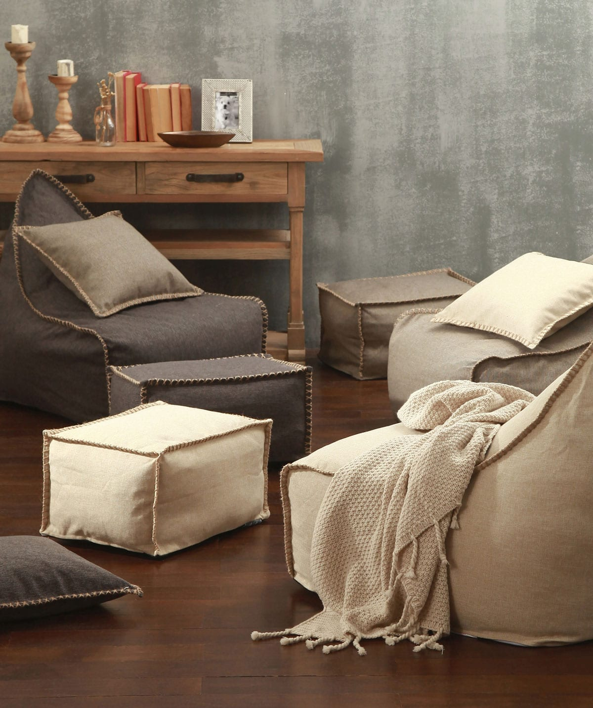 MM Linen Mero Bean Bag & Ottoman Set (Unfilled)