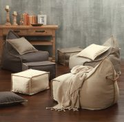 MM Linen Mero Beanbags & Ottoman Set available at McKenzie & Willis