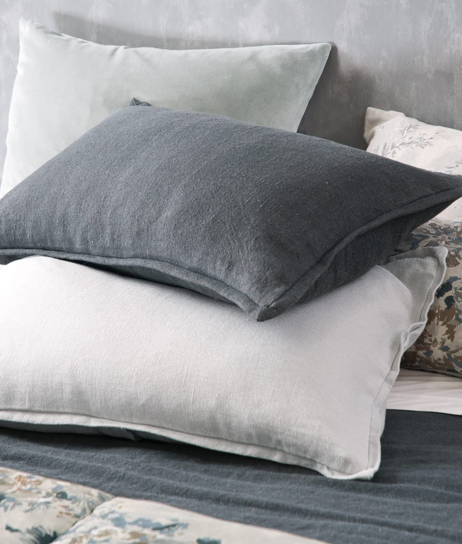 Bianca Lorenne Cela Charcoal (top) and Silver (Bottom) Pillowcases available at McKenzie & Willis