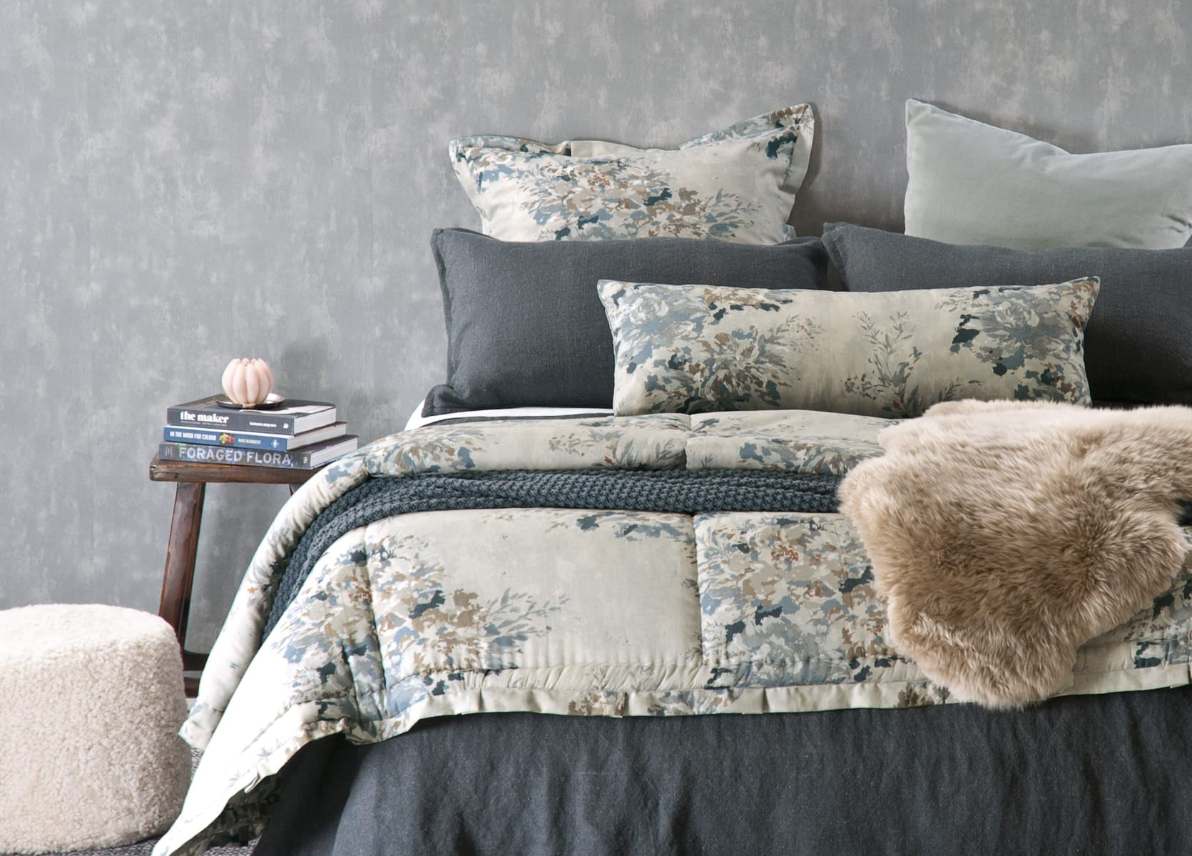 Bianca Lorenne Cela Charcoal with Vernice Natural Comforter available at McKenzie & Willis