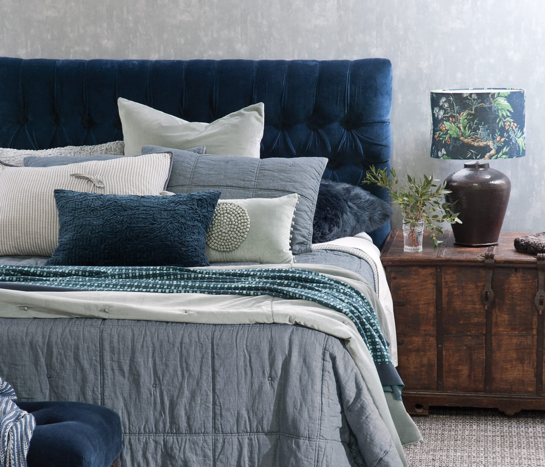 Bianca Lorenne Noma Denim with Mara Mist Comforter avaliable at McKenzie & Willis