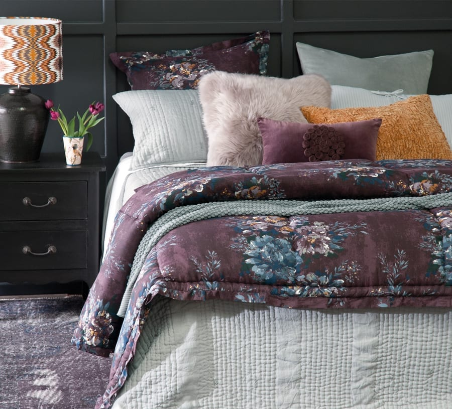 Bianca Lorenne Ricamo pale grey with vernice aubergine comforter available at McKenzie & Willis