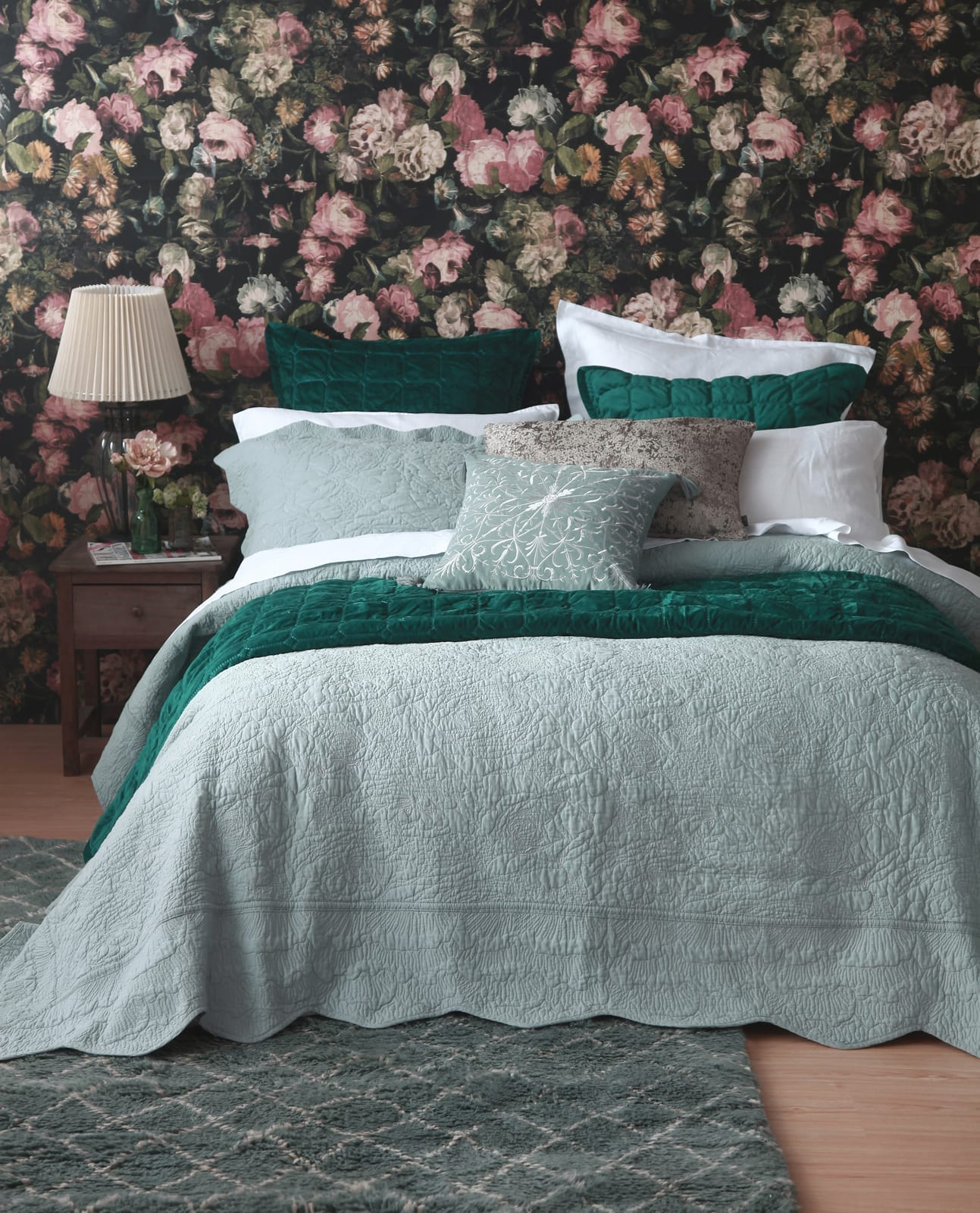 MM Linen Ara Bedspread Set in Seafoam available at McKenzie & Willis