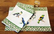MM Linen Aviary place mats available at McKenzie & Willis