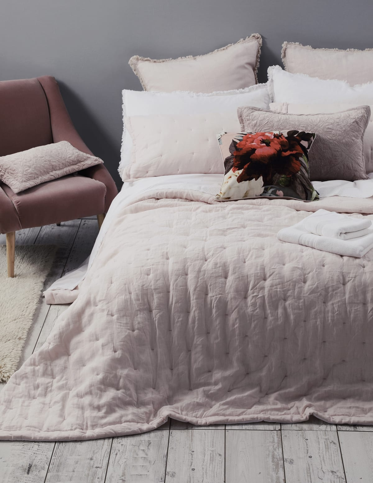 MM Linen Laundered Linen Bedspread Blush available at McKenzie & Willis
