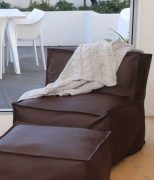 MM Linen Sierra Chocolate Beanbag & Ottoman available at McKenzie & Willis
