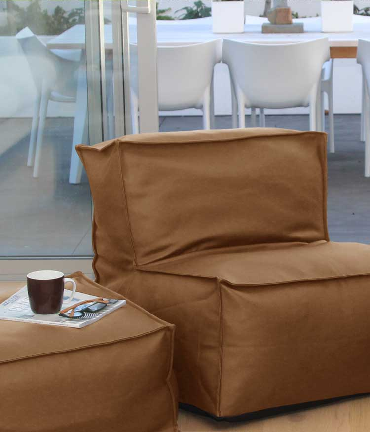 MM Linen Sierra Tan Beanbag and Ottoman available at McKenzie & Willis