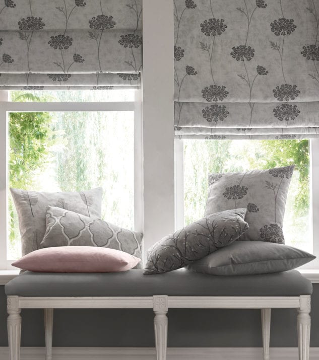Custom Made Inside Fit Roman Blinds available at McKenzie & Willis