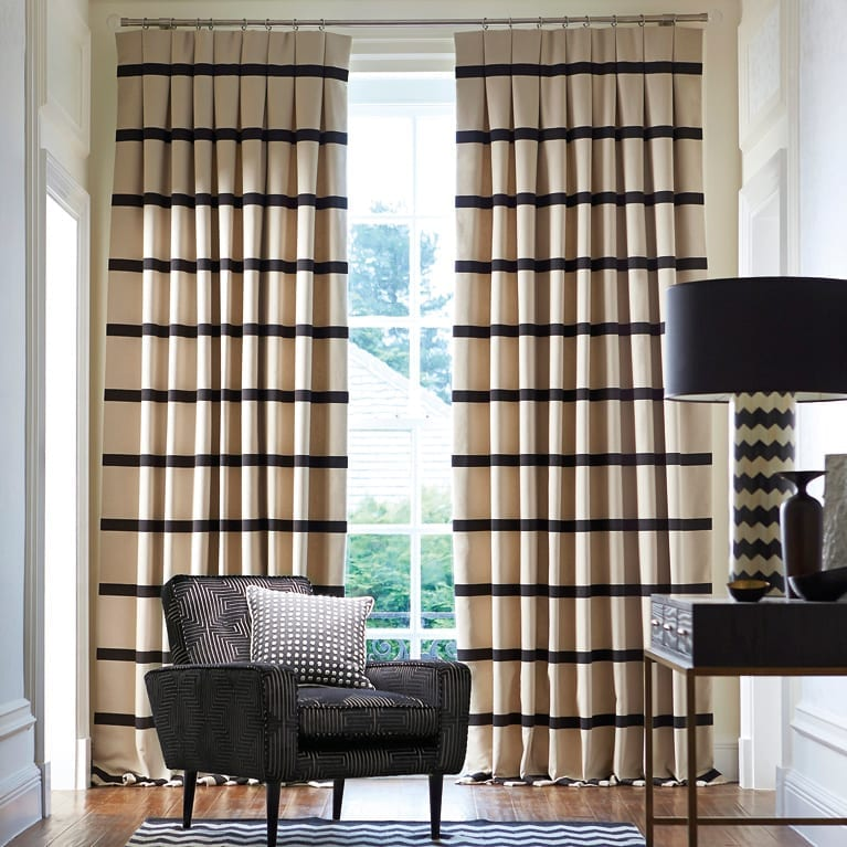 Custom Made Inverted Pleat Curtains available at McKenzie & Willis