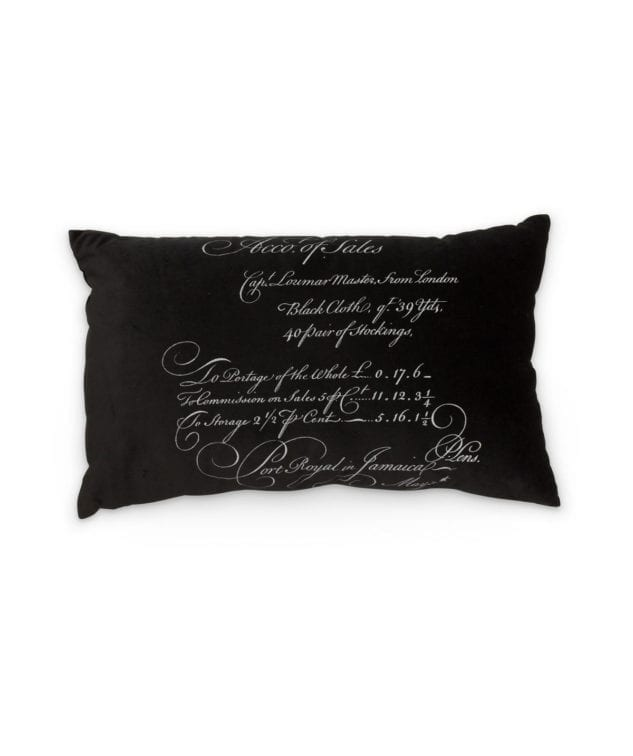 Arcanum Black Calligraphy Large Oblong Cushion 633x756
