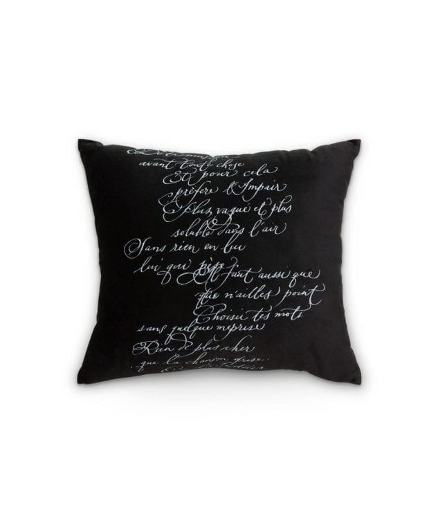 Arcanum Black Calligraphy Square Cushion 633x756