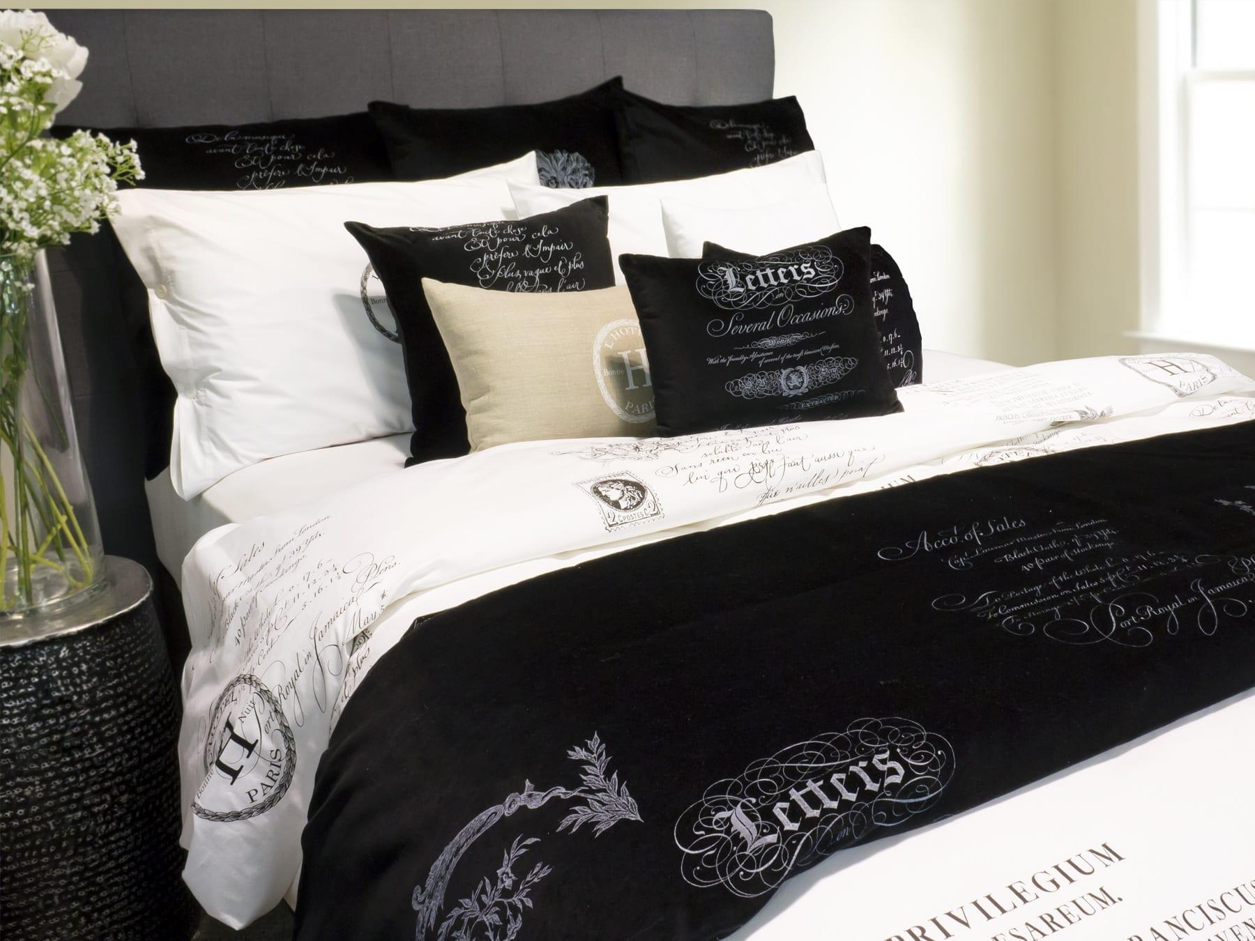 Arcanum Black Calligraphy Bed Linen range