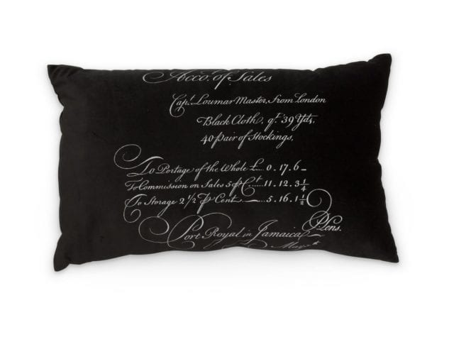 Arcanum Black Calligraphy Large Oblong Cushion