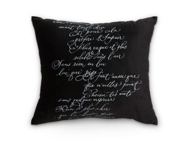 Arcanum Black Calligraphy  Square Cushion