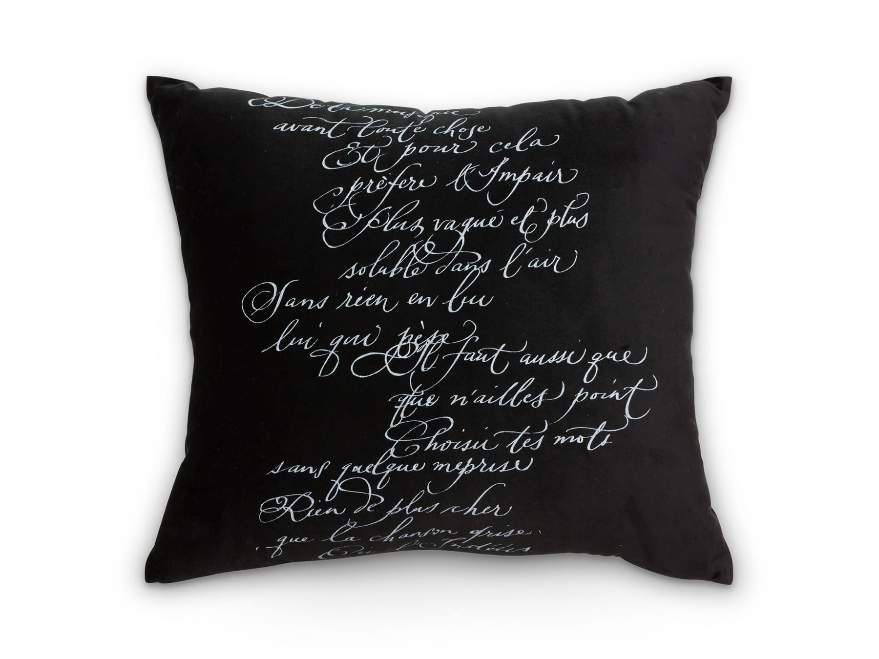 Arcanum Black Calligraphy Square Cushion available at McKenzie & Willis