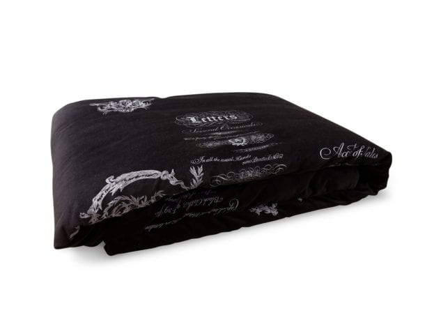 Arcanum Black Velvet Calligraphy Throw