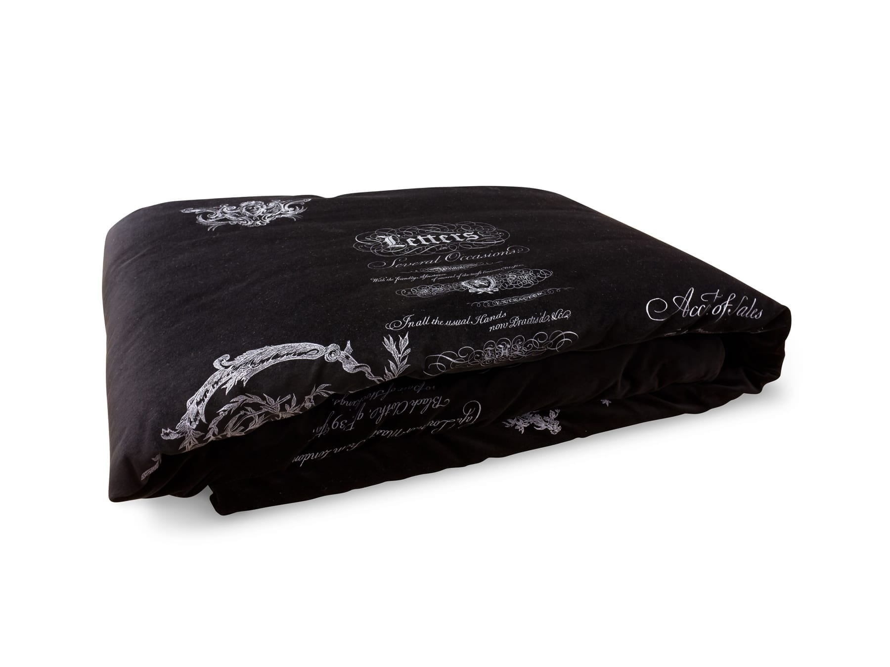 Arcanum Black Velvet Calligraphy Throw available at McKenzie & Willis