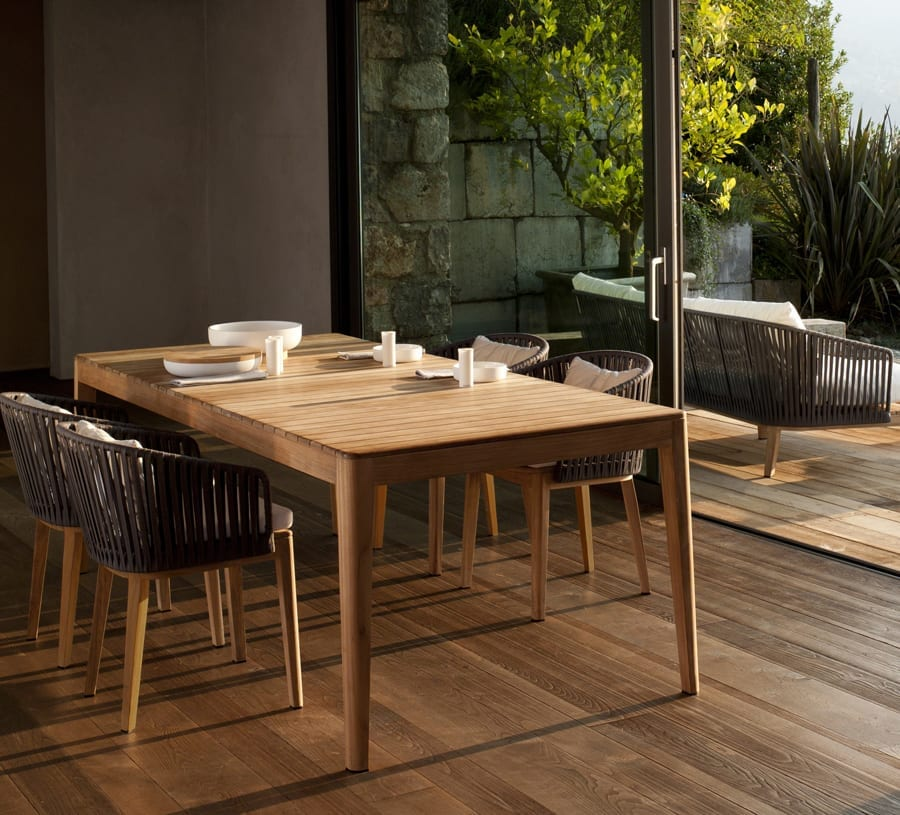 Tribu Mood Dining Table and dining chairs available at McKenzie & Willis