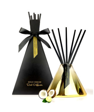 Surmanti Gold Series Reed Diffuser Set available at McKenzie & Willis