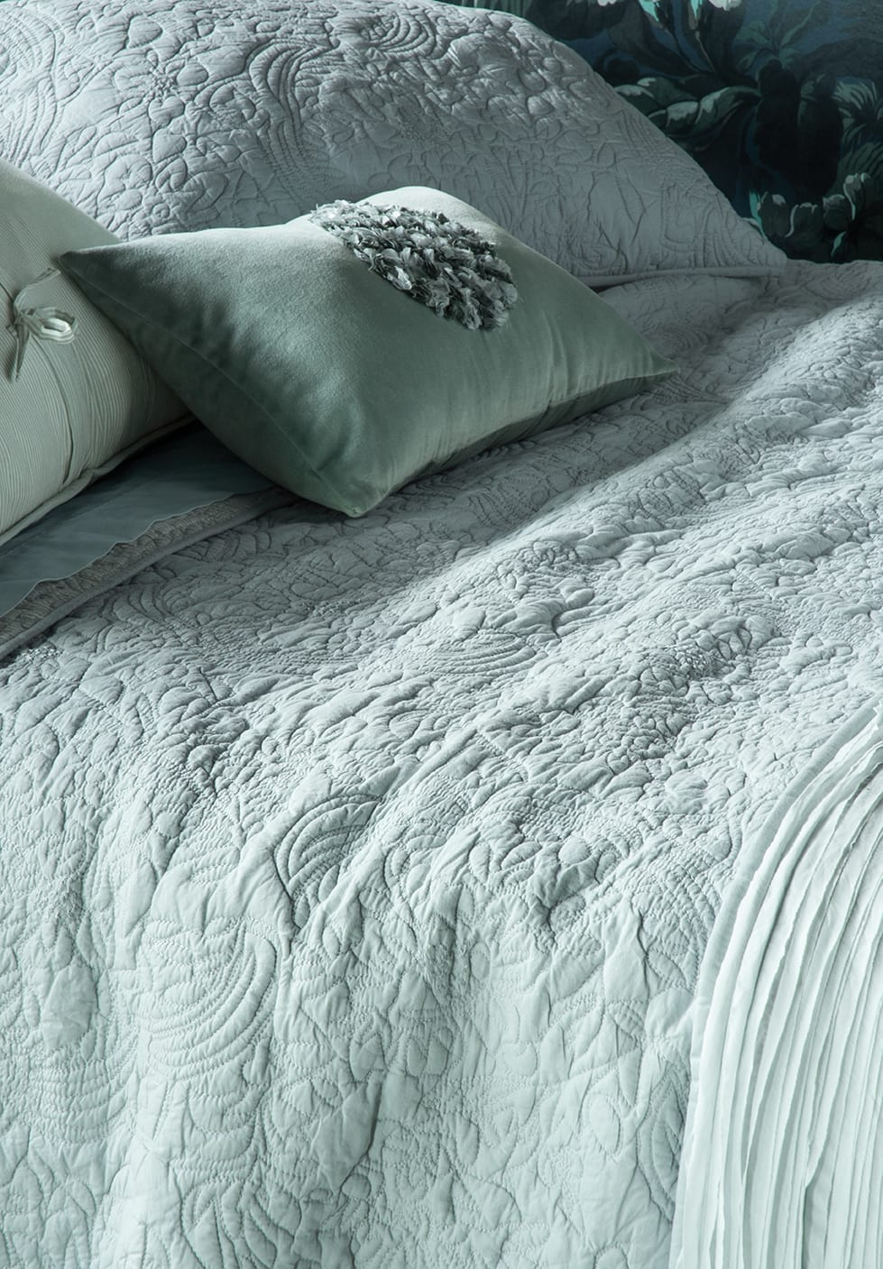 Bianca Lorenne Amberley Duck Egg Bedspread available at McKenzie & Willis