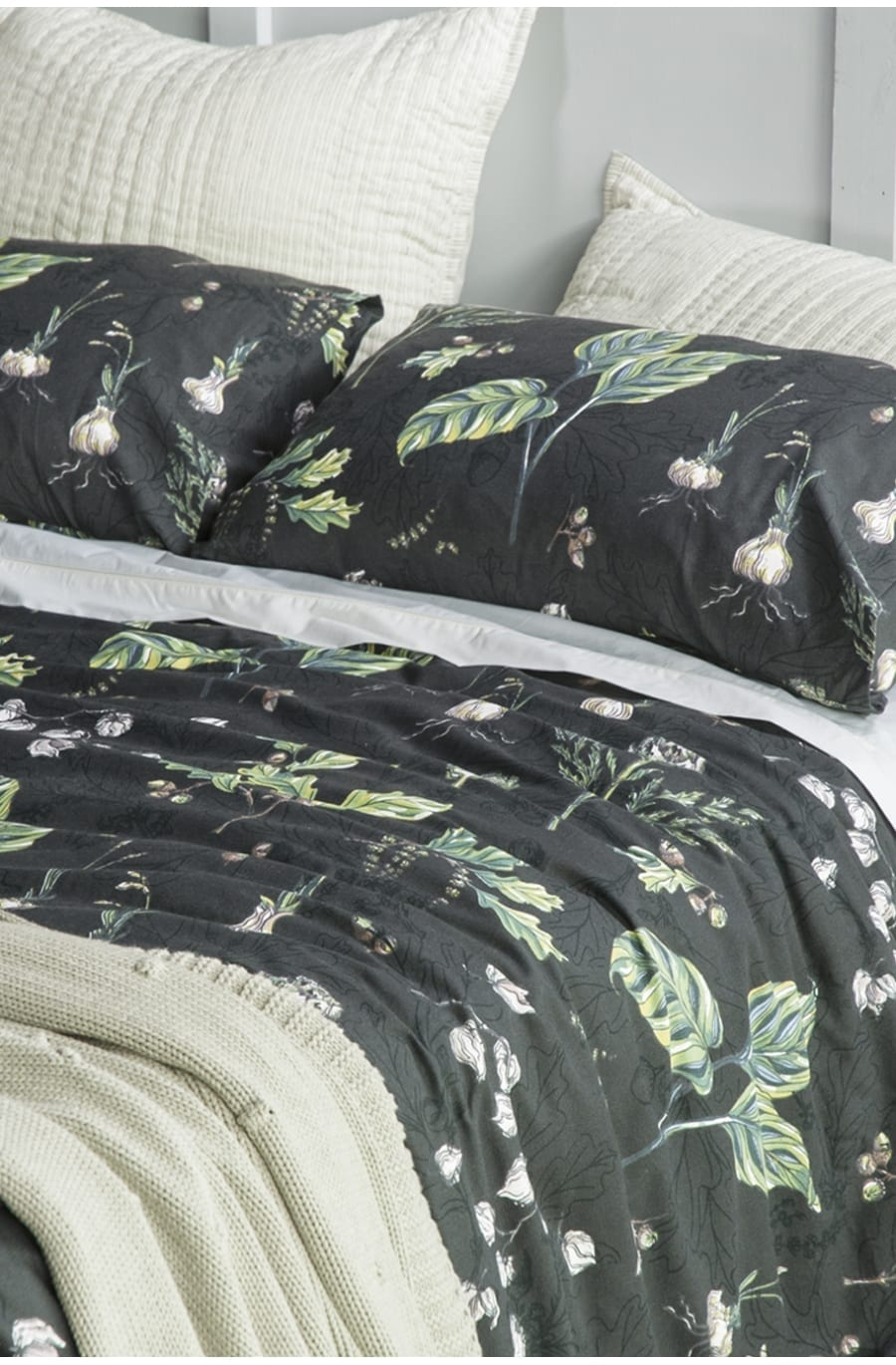 Bianca Lorenne Botaniska Charcoal Duvet Cover available at McKenzie & Willis