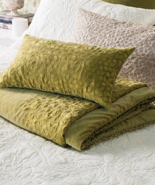 Bianca Lorenne Folia Chartreuse comforter and cushion avaialble at McKenzie & Willis