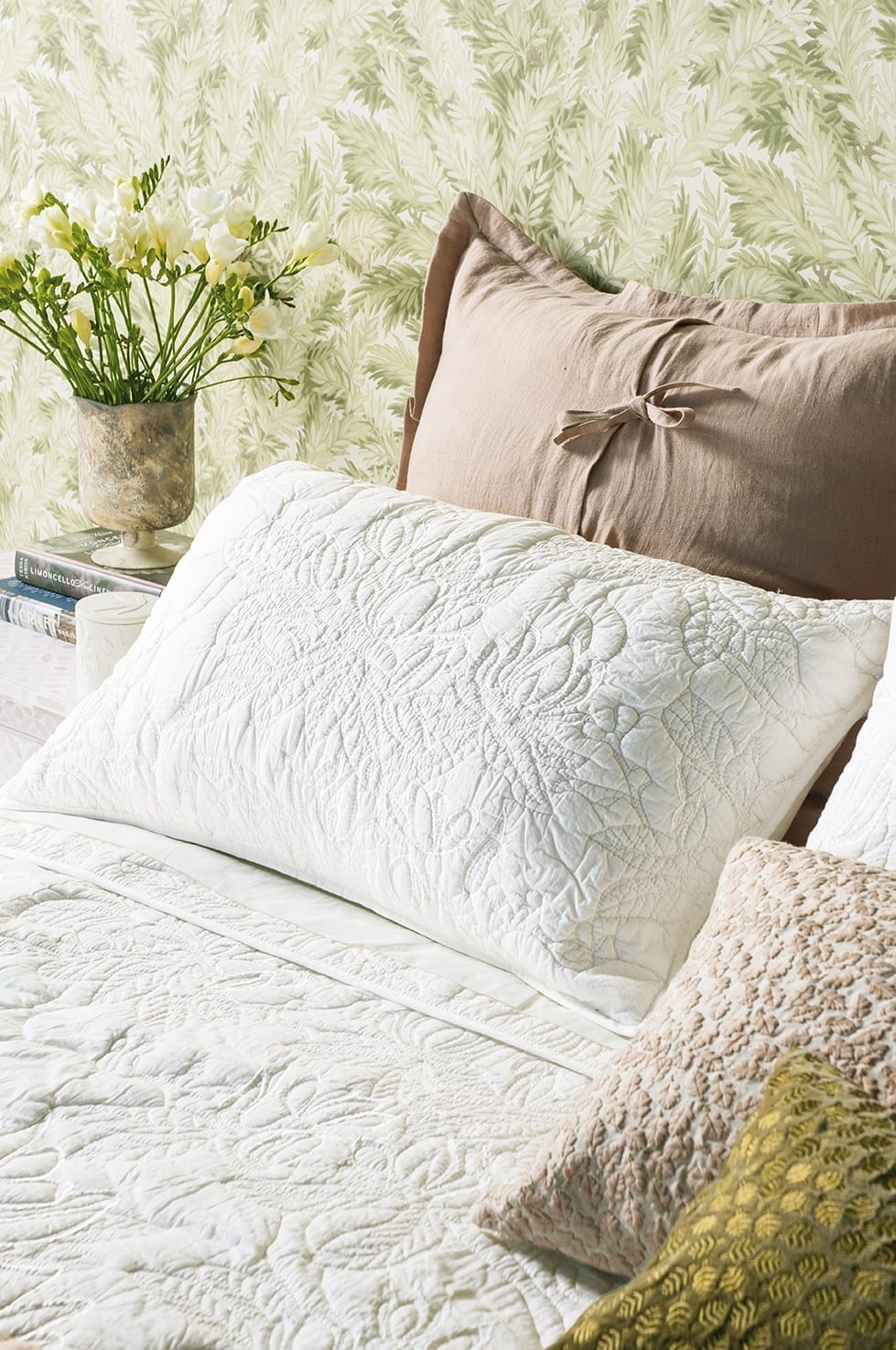 Bianca Lorenne Grandiflora Ivory Bedspread available at McKenzie & Willis