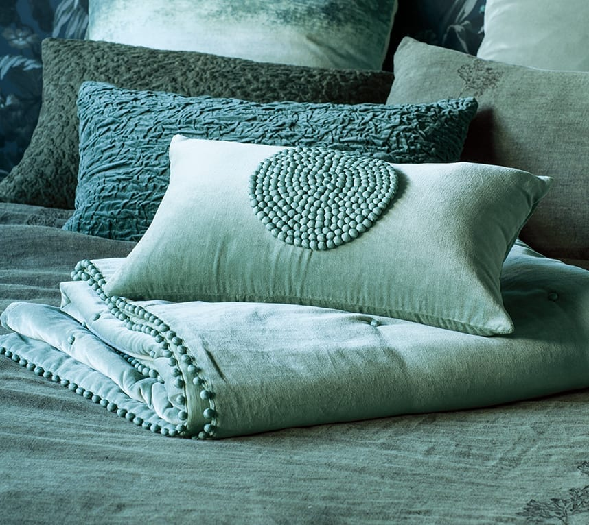 Bianca Lorenne Mara Lichen Comforter and Cushion available at McKenzie & Willis