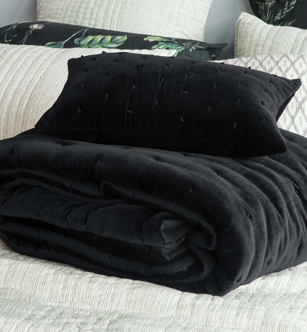 Bianca Lorenne Mica Black Cushion and Comforter available at McKenzie & Willis