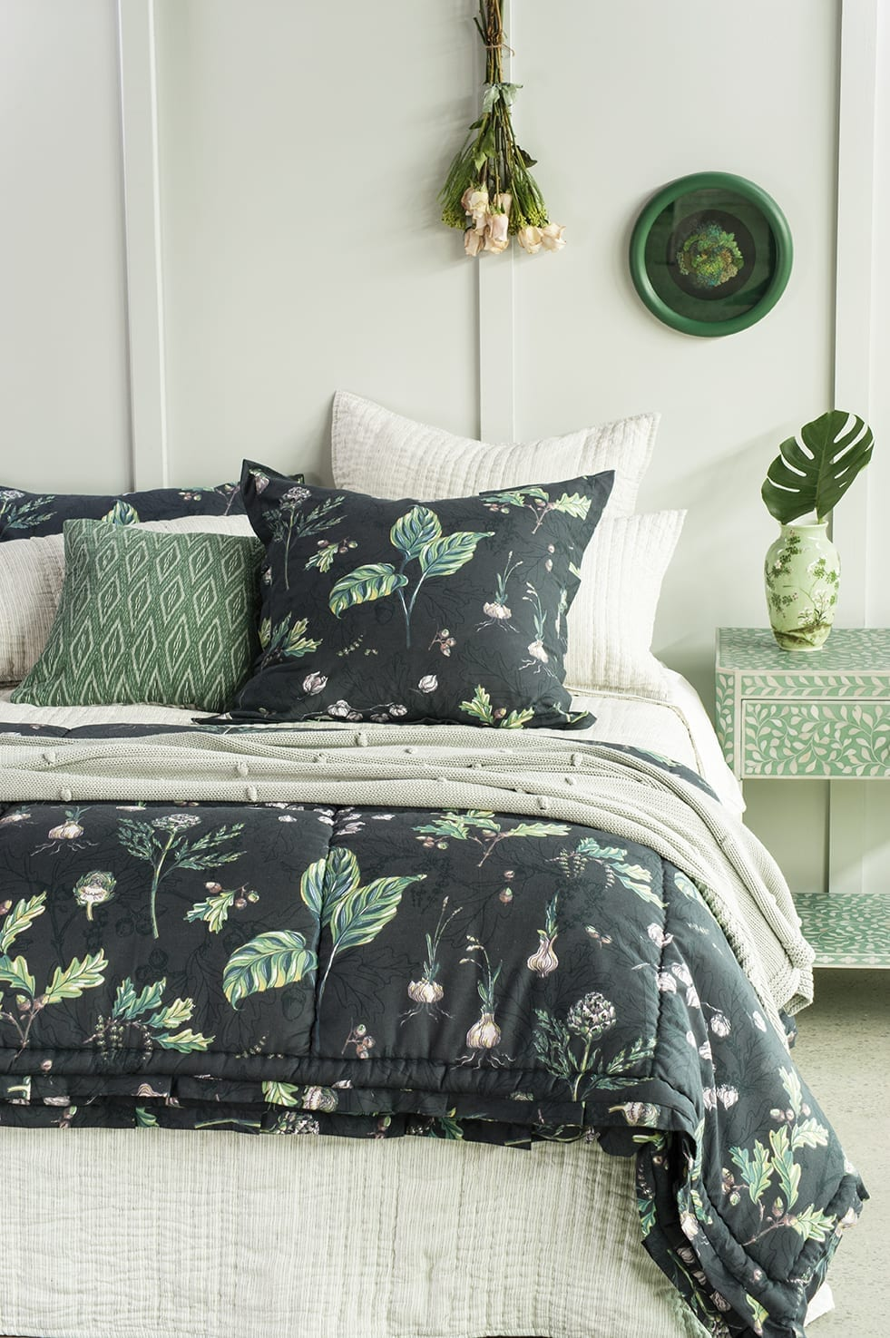Bianca Lorenne Pezzato Bedspread with Botaniska Charcoal available at McKenzie & Willis