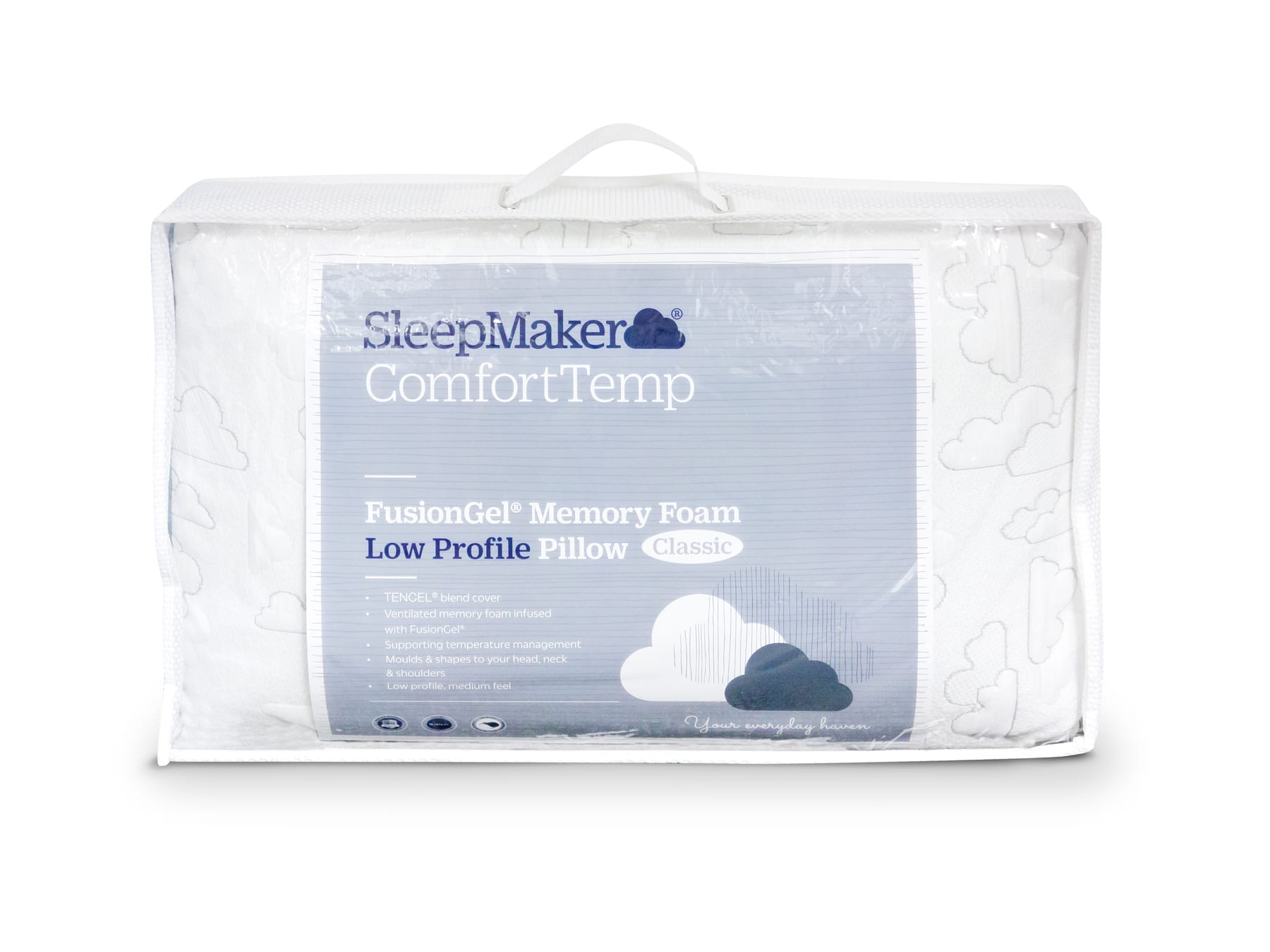 Sleepmaker Comfort Temp Fusion Gel Memory Foam Pillow Low Profile