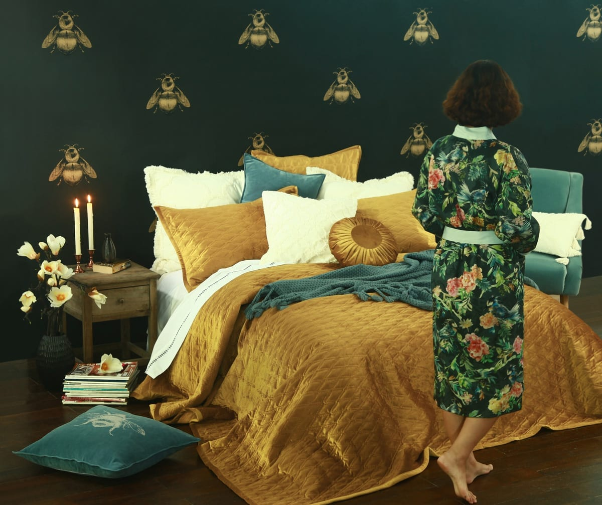 MM Linen Aurum Bedspread set available at McKenzie & Willis