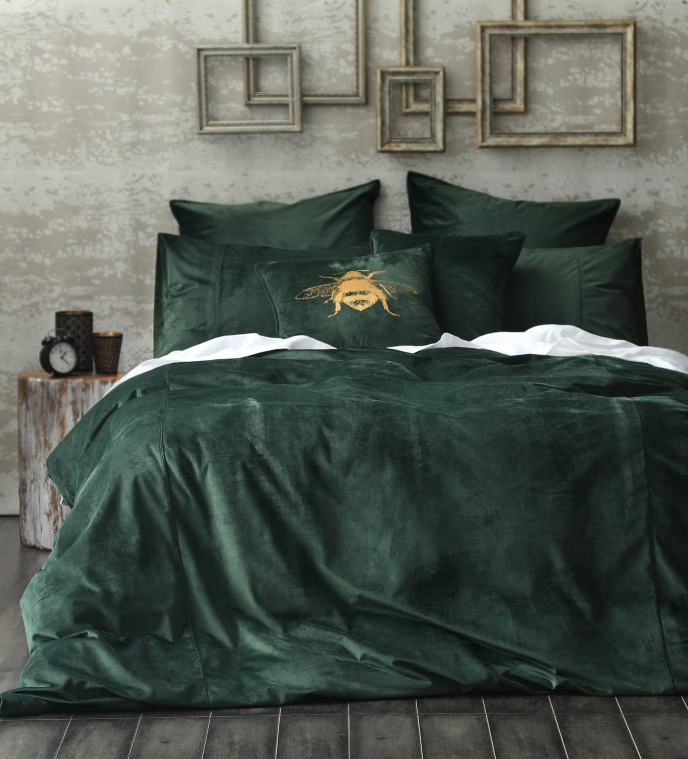 MM Linen Velvet Duvet Set Forest available at McKenzie & Willis
