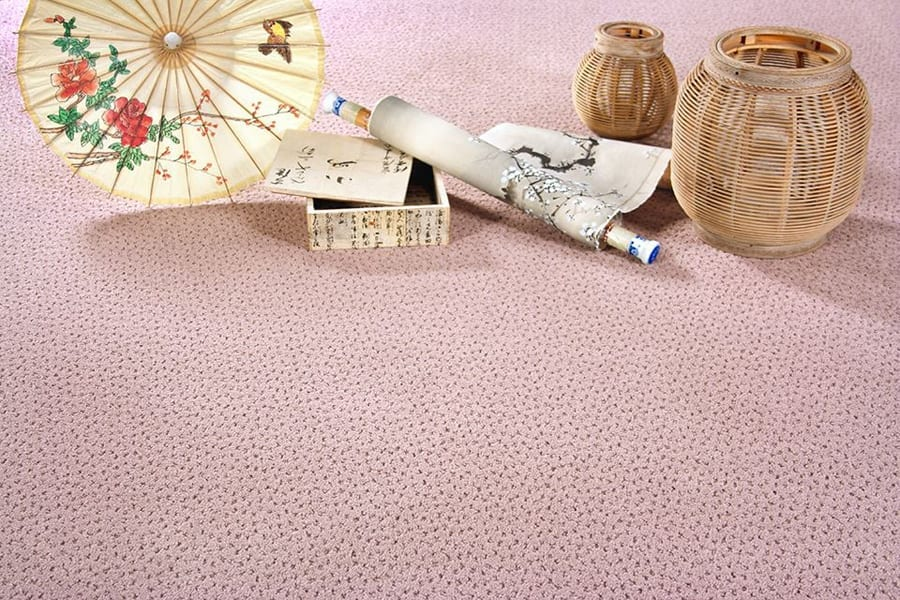 Sallee chunky loop 100 NZ wool carpet Cherry Blossom.