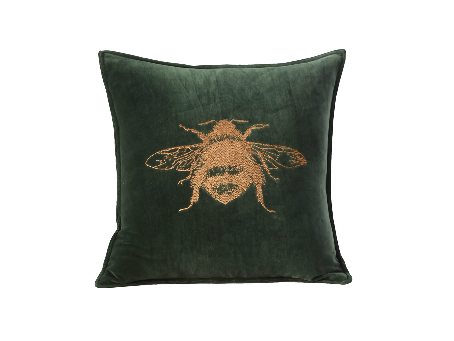 MM Linen Bee Mine Cushion in Forest available at McKenzie & Willis