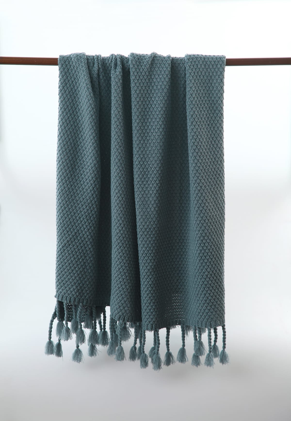 MM Linen Chunky Knit Throw in Slate Blue available at McKenzie & Willis