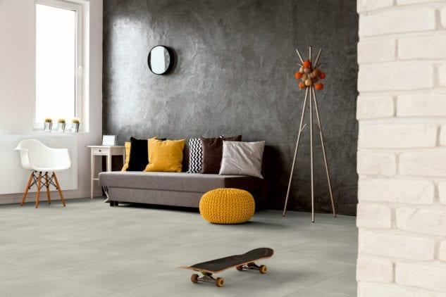 Polyflor Expona Simplay Design Vinyl Tile Light Grey Concrete 2567 Lifestyle