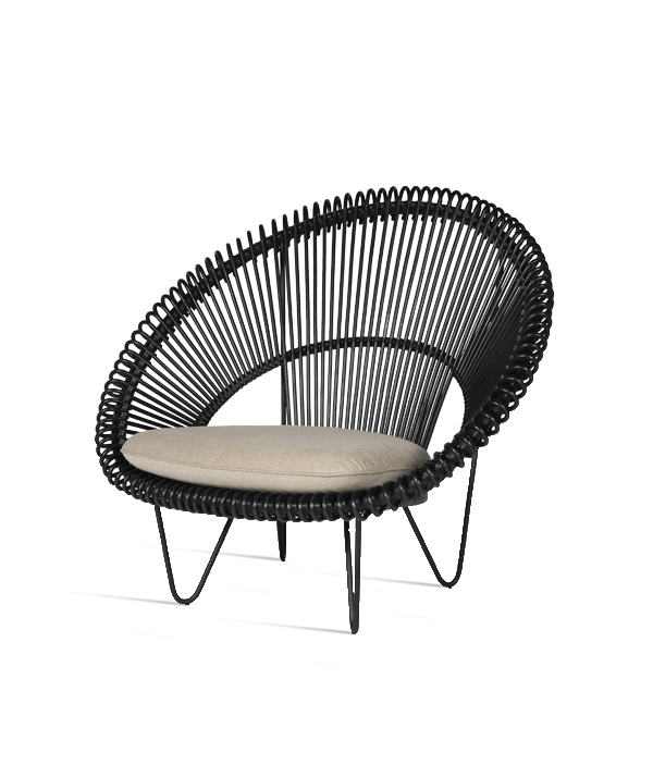 Vincent Sheppard Roy Cocoon Chair Black Clear Cut