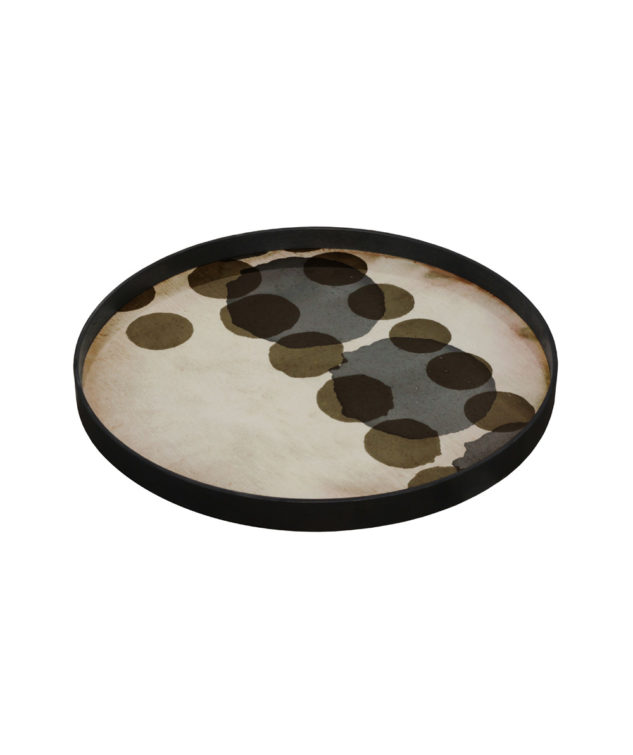 Notre Monde Tray Round Large Glass Slate Layered Dots 2 633x755