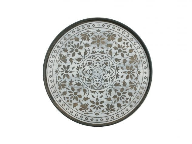 Notre Monde Large Round Tray (Wood) - White Marrakesh