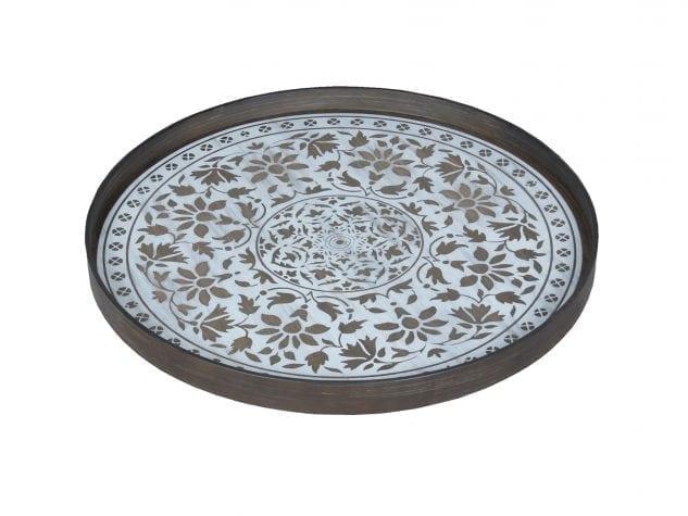 Notre Monde Large Round Tray (Wood) - White Marrakesh